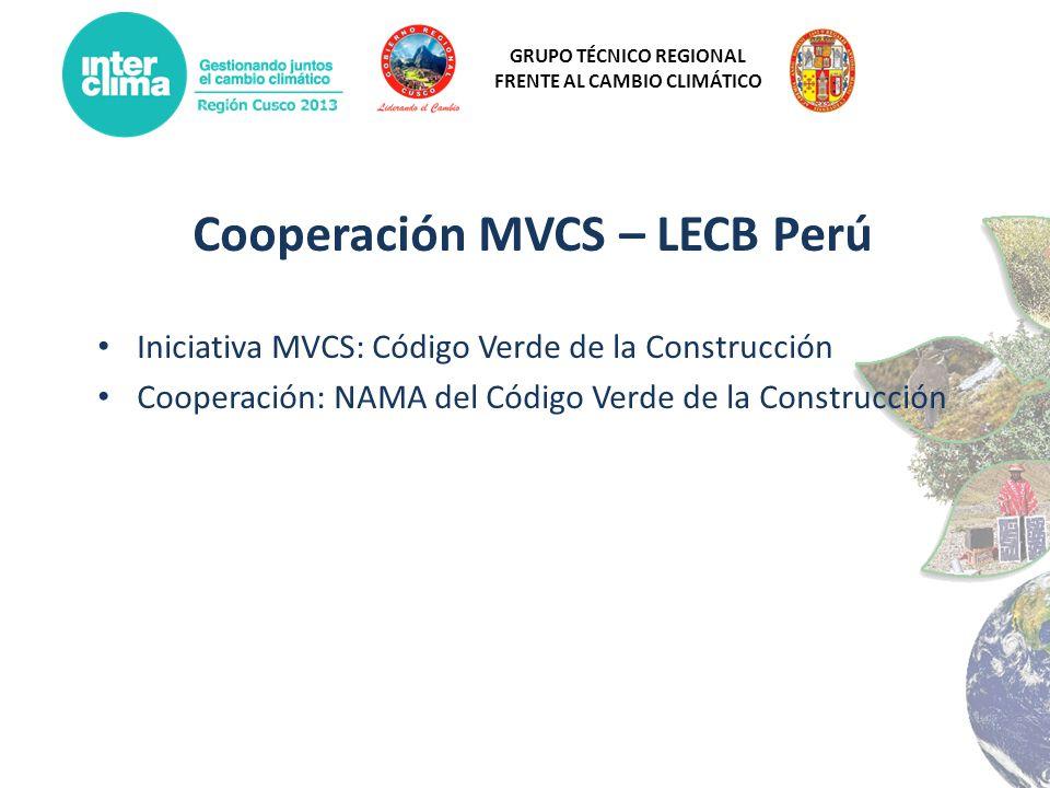 GRUPO TÉCNICO REGIONAL FRENTE AL CAMBIO CLIMÁTICO Cooperación MVCS – LECB Perú Iniciativa MVCS: Código Verde de la Construcción Cooperación: NAMA del