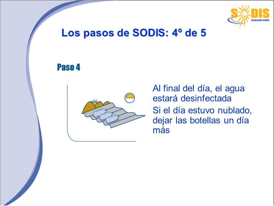 Los pasos de SODIS: 4º de 5 Al final del día, el agua estará desinfectada Si el día estuvo nublado, dejar las botellas un día más