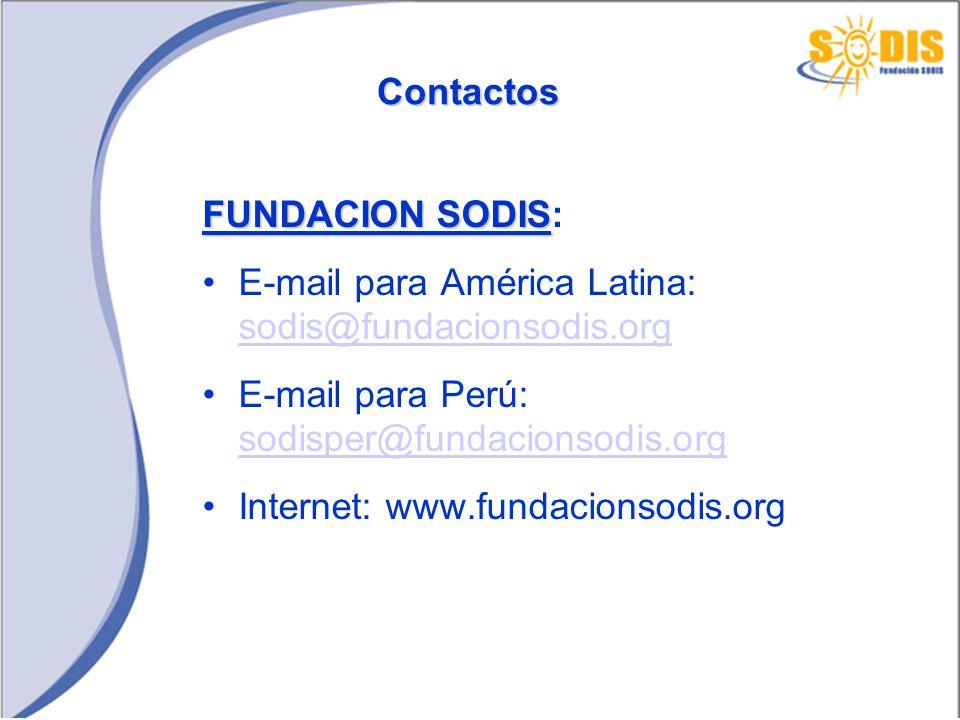 Contactos FUNDACION SODIS FUNDACION SODIS: E-mail para América Latina: sodis@fundacionsodis.org sodis@fundacionsodis.org E-mail para Perú: sodisper@fu