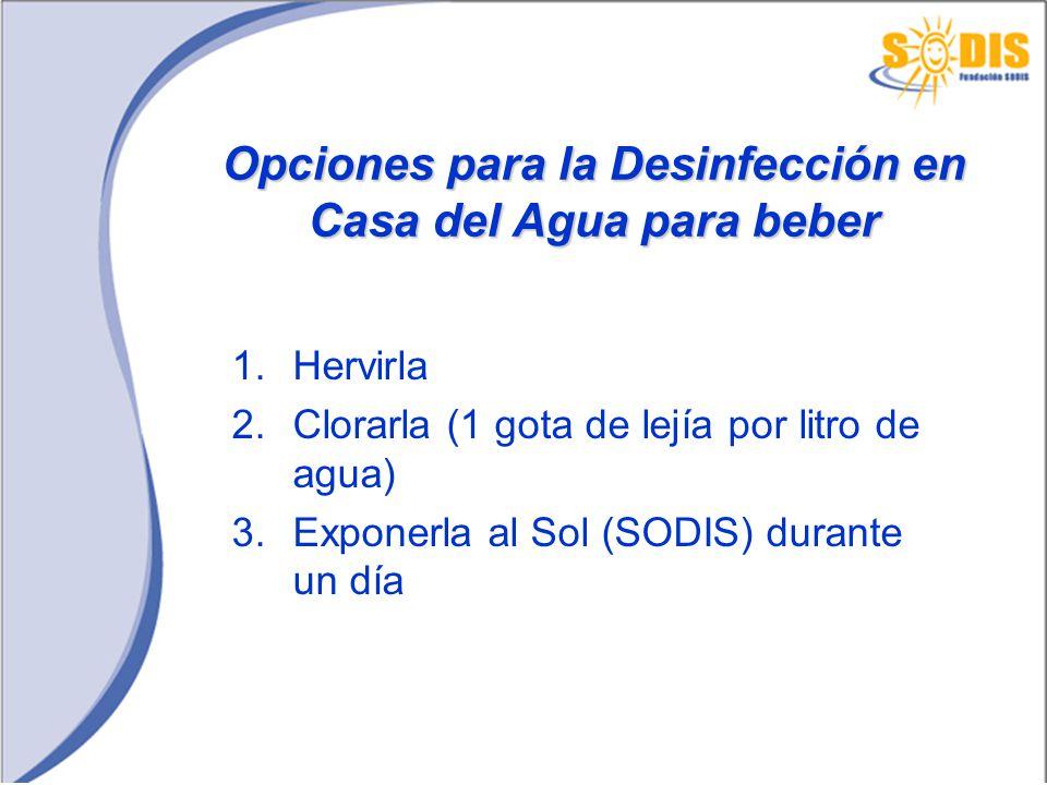 Opciones para la Desinfección en Casa del Agua para beber 1.Hervirla 2.Clorarla (1 gota de lejía por litro de agua) 3.Exponerla al Sol (SODIS) durante