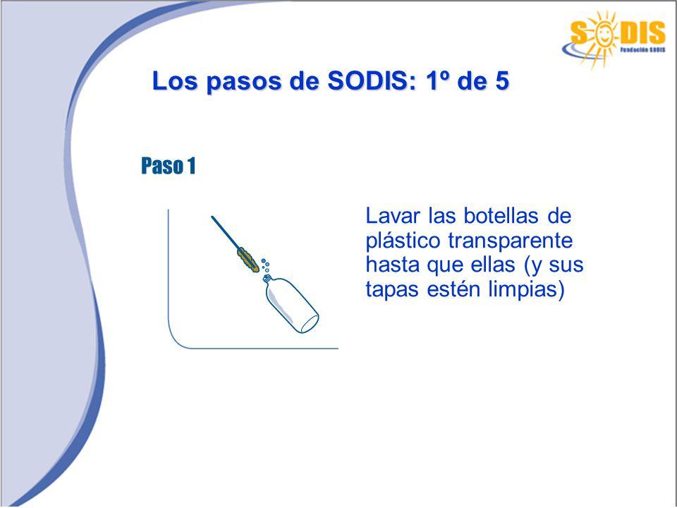 Los pasos de SODIS: 2º de 5 Llenar totalmente las botellas con agua clara y taparlas bien con su tapa original
