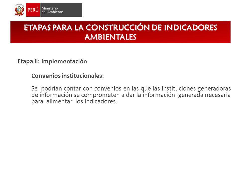 Etapa II: Implementación Convenios institucionales: Se podrían contar con convenios en las que las instituciones generadoras de información se comprom