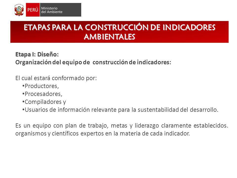 ETAPAS PARA LA CONSTRUCCIÓN DE INDICADORES AMBIENTALES Etapa I: Diseño: Organización del equipo de construcción de indicadores: El cual estará conform
