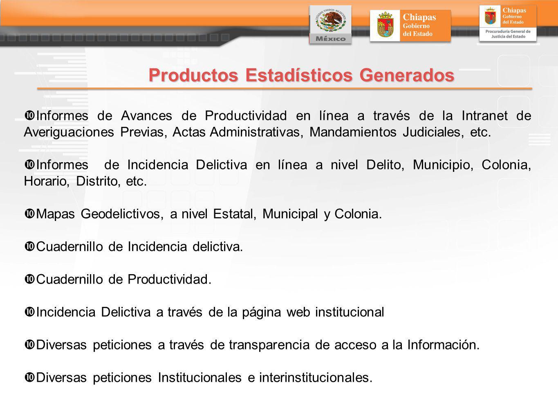 Productos Estadísticos Generados Informes de Avances de Productividad en línea a través de la Intranet de Averiguaciones Previas, Actas Administrativas, Mandamientos Judiciales, etc.