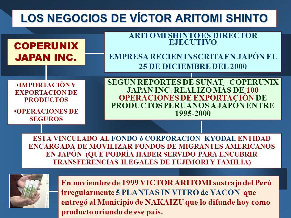 LOS NEGOCIOS DE VÍCTOR ARITOMI SHINTO En noviembre de 1999 VICTOR ARITOMI sustrajo del Perú irregularmente 5 PLANTAS IN VITRO de YACÒN que entregó al