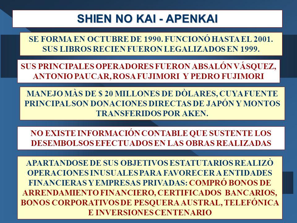 SHIEN NO KAI - APENKAI SE FORMA EN OCTUBRE DE 1990. FUNCIONÓ HASTA EL 2001. SUS LIBROS RECIEN FUERON LEGALIZADOS EN 1999. SUS PRINCIPALES OPERADORES F