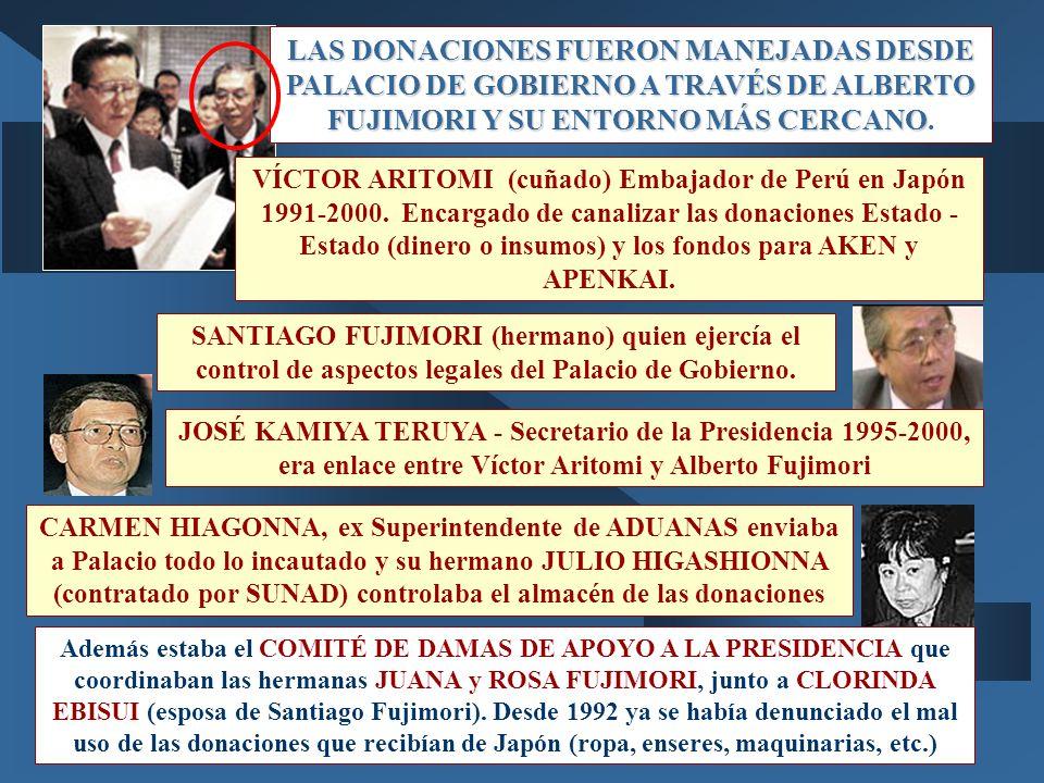 LAS DONACIONES FUERON MANEJADAS DESDE PALACIO DE GOBIERNO A TRAVÉS DE ALBERTO FUJIMORI Y SU ENTORNO MÁS CERCANO LAS DONACIONES FUERON MANEJADAS DESDE