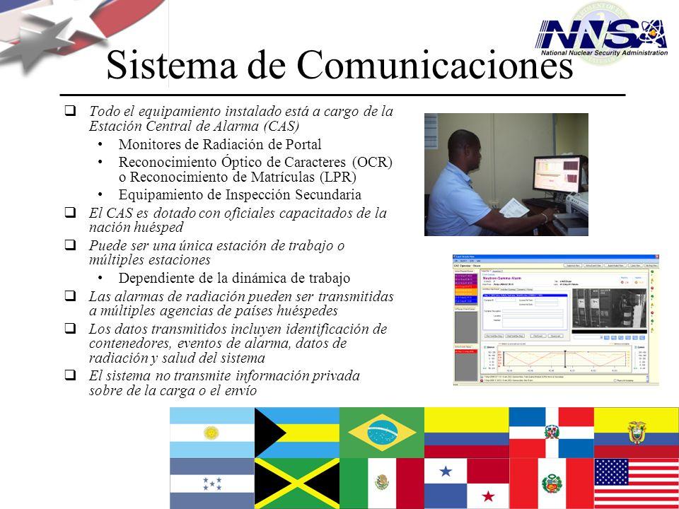 Julio de 2009 Sistema de Comunicaciones Todo el equipamiento instalado está a cargo de la Estación Central de Alarma (CAS) Monitores de Radiación de P