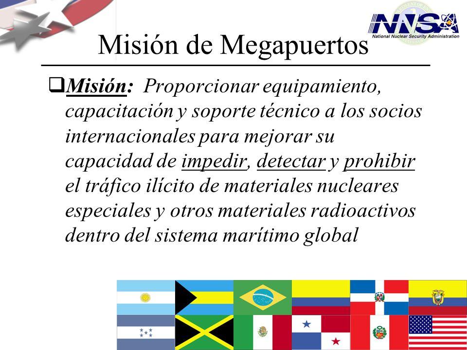 Julio de 2009 Misión de Megapuertos Misión: Proporcionar equipamiento, capacitación y soporte técnico a los socios internacionales para mejorar su cap