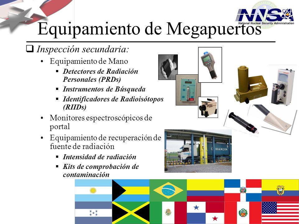 Julio de 2009 Equipamiento de Megapuertos Inspección secundaria: Equipamiento de Mano Detectores de Radiación Personales (PRDs) Instrumentos de Búsque