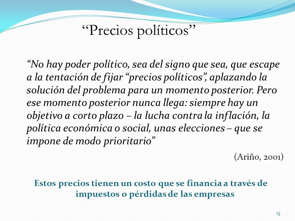 No hay poder político, sea del signo que sea, que escape a la tentación de fijar precios políticos, aplazando la solución del problema para un momento posterior.