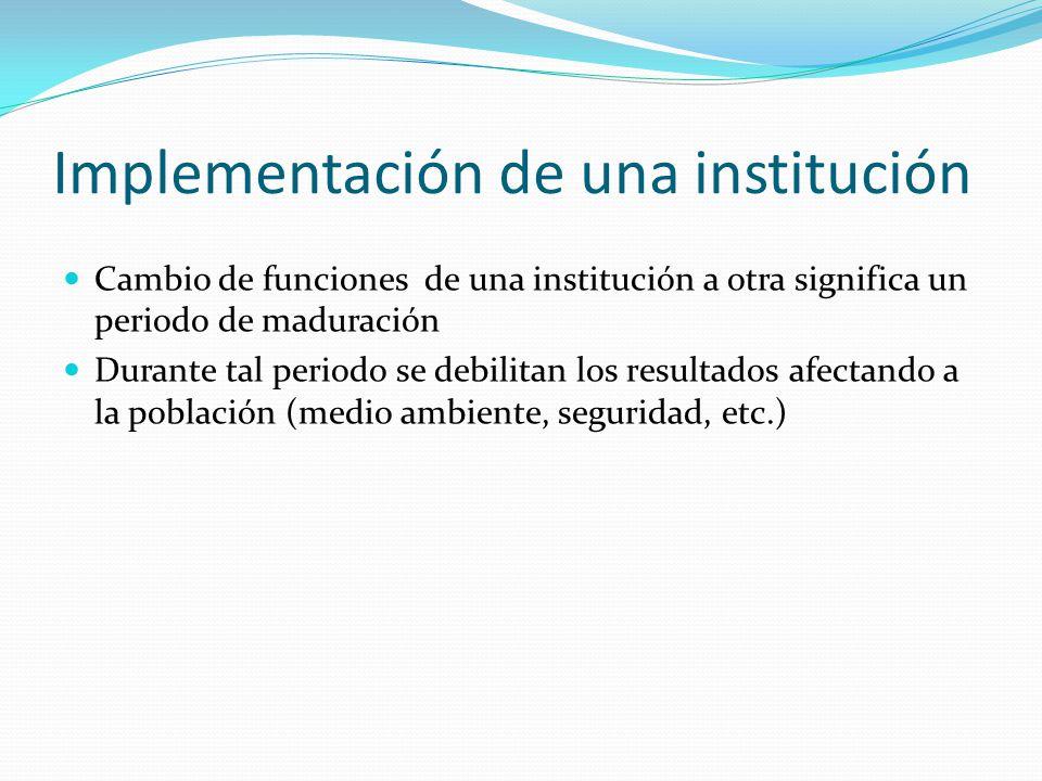 Implementación de una institución Cambio de funciones de una institución a otra significa un periodo de maduración Durante tal periodo se debilitan los resultados afectando a la población (medio ambiente, seguridad, etc.)