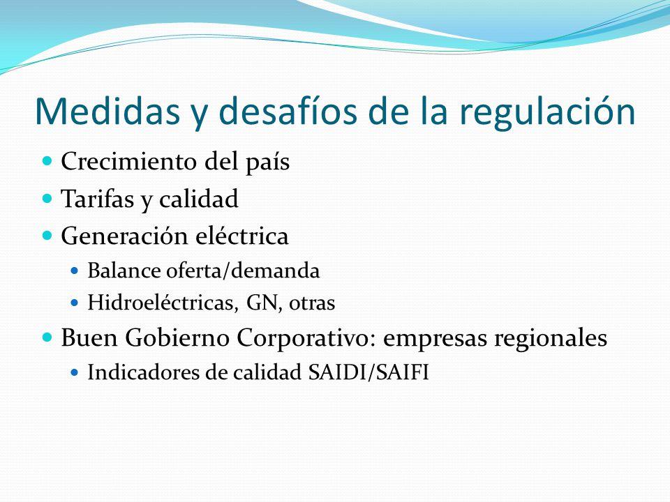 Medidas y desafíos de la regulación Crecimiento del país Tarifas y calidad Generación eléctrica Balance oferta/demanda Hidroeléctricas, GN, otras Buen Gobierno Corporativo: empresas regionales Indicadores de calidad SAIDI/SAIFI