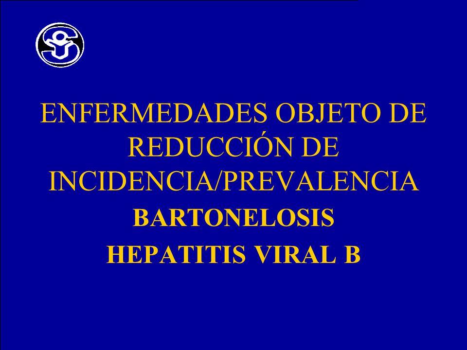 ENFERMEDADES OBJETO DE REDUCCIÓN DE INCIDENCIA/PREVALENCIA BARTONELOSIS HEPATITIS VIRAL B