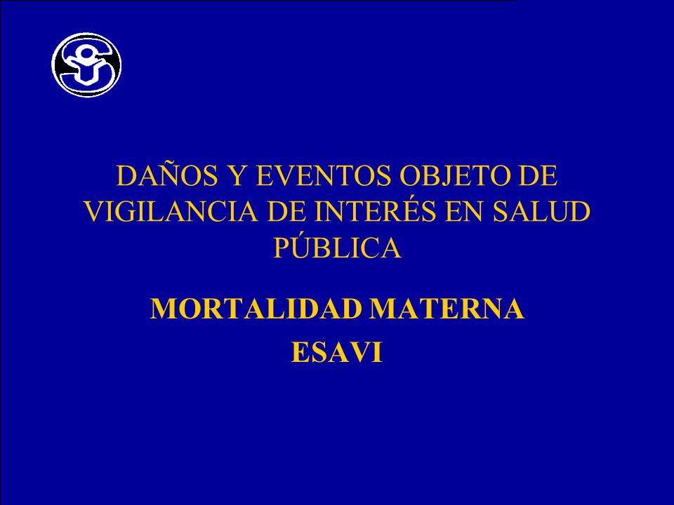 DAÑOS Y EVENTOS OBJETO DE VIGILANCIA DE INTERÉS EN SALUD PÚBLICA MORTALIDAD MATERNA ESAVI