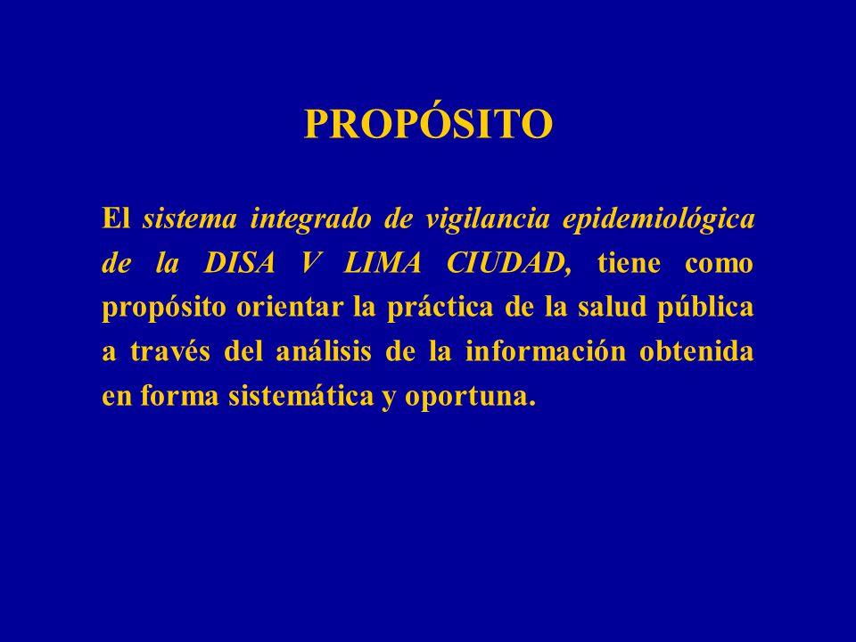 PROPÓSITO El sistema integrado de vigilancia epidemiológica de la DISA V LIMA CIUDAD, tiene como propósito orientar la práctica de la salud pública a