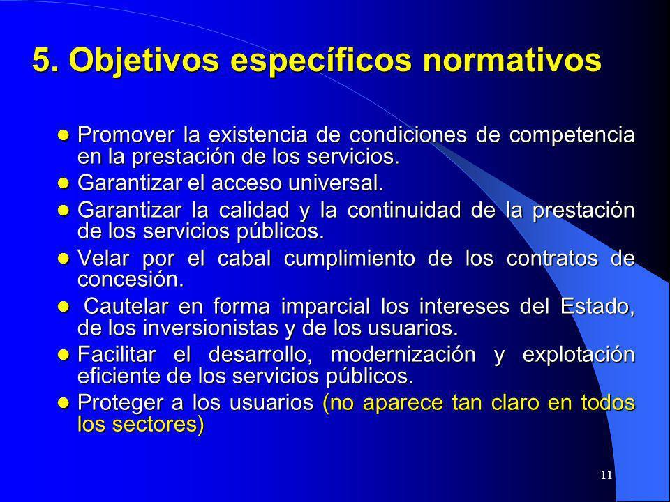 11 5. Objetivos específicos normativos Promover la existencia de condiciones de competencia en la prestación de los servicios. Promover la existencia