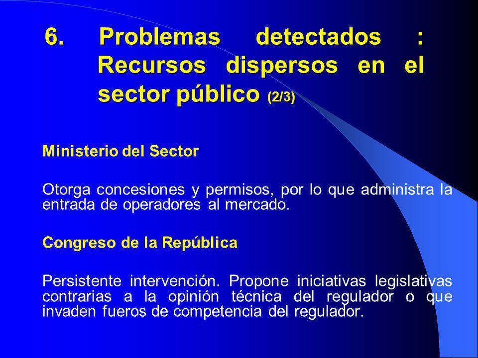 6. Problemas detectados : Recursos dispersos en el sector público (2/3) Ministerio del Sector Otorga concesiones y permisos, por lo que administra la