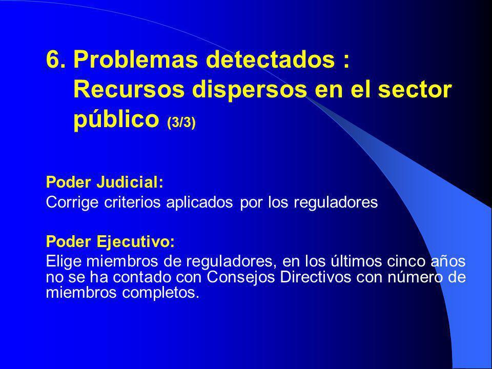6. Problemas detectados : Recursos dispersos en el sector público (3/3) Poder Judicial: Corrige criterios aplicados por los reguladores Poder Ejecutiv