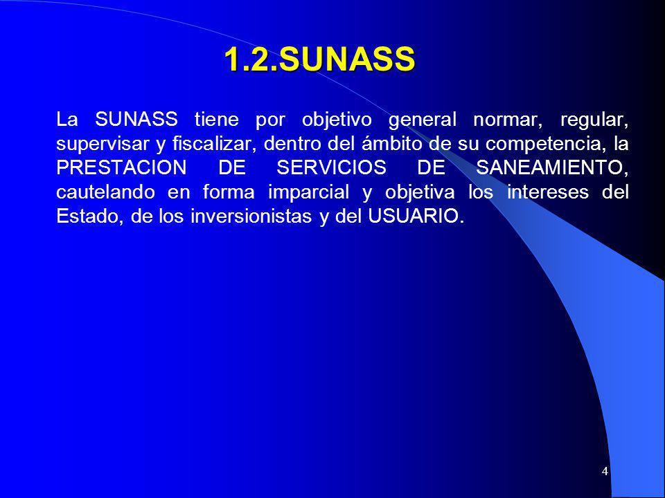 4 1.2.SUNASS 1.2.SUNASS La SUNASS tiene por objetivo general normar, regular, supervisar y fiscalizar, dentro del ámbito de su competencia, la PRESTAC