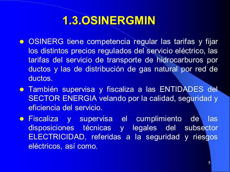 5 1.3.OSINERGMIN OSINERG tiene competencia regular las tarifas y fijar los distintos precios regulados del servicio eléctrico, las tarifas del servici