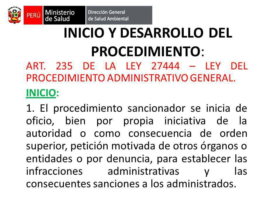 INICIO Y DESARROLLO DEL PROCEDIMIENTO: ART. 235 DE LA LEY 27444 – LEY DEL PROCEDIMIENTO ADMINISTRATIVO GENERAL. INICIO: 1. El procedimiento sancionado