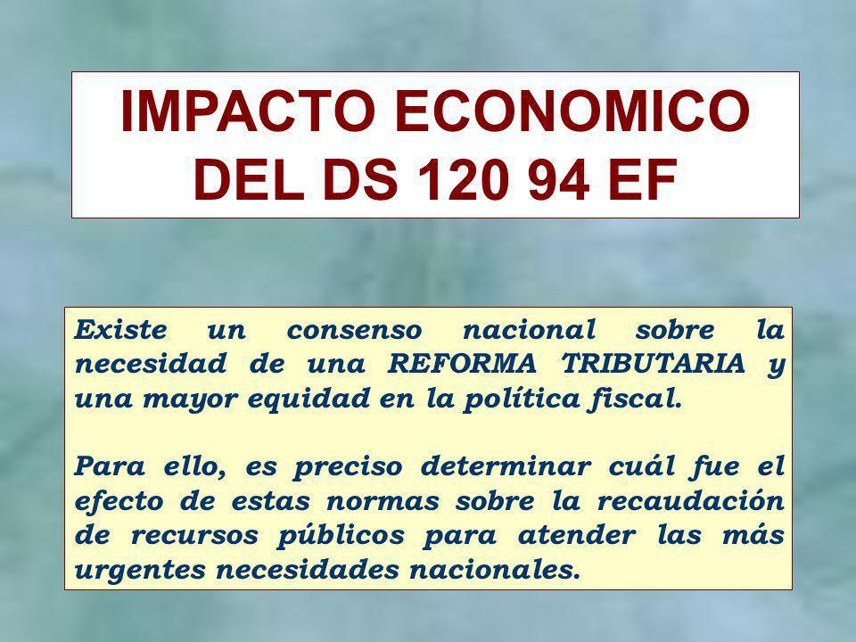 IMPACTO ECONOMICO DEL DS 120 94 EF Existe un consenso nacional sobre la necesidad de una REFORMA TRIBUTARIA y una mayor equidad en la política fiscal.