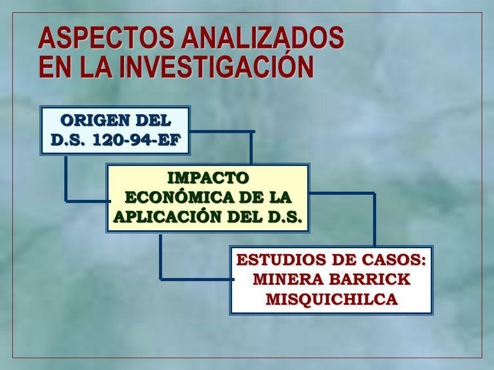 2 ASPECTOS ANALIZADOS EN LA INVESTIGACIÓN ORIGEN DEL D.S. 120-94-EF IMPACTO ECONÓMICA DE LA APLICACIÓN DEL D.S. ESTUDIOS DE CASOS: MINERA BARRICK MISQ