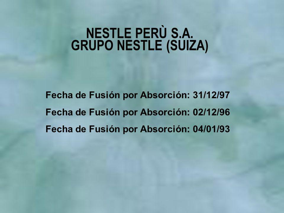 NESTLE PERÙ S.A. GRUPO NESTLE (SUIZA) Fecha de Fusión por Absorción: 31/12/97 Fecha de Fusión por Absorción: 02/12/96 Fecha de Fusión por Absorción: 0
