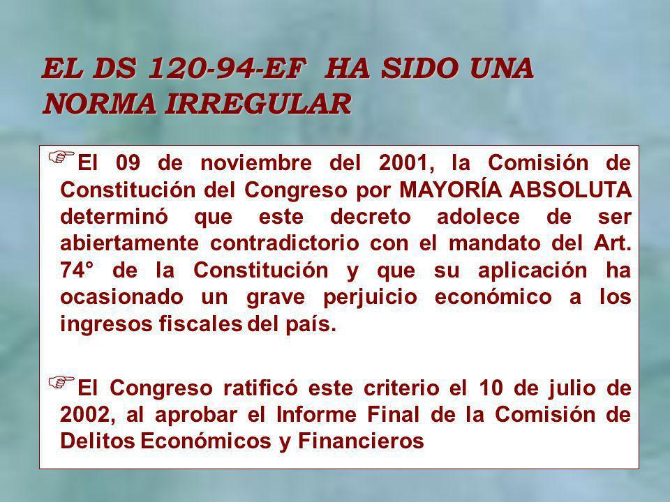 EL DS 120-94-EF HA SIDO UNA NORMA IRREGULAR El 09 de noviembre del 2001, la Comisión de Constitución del Congreso por MAYORÍA ABSOLUTA determinó que e