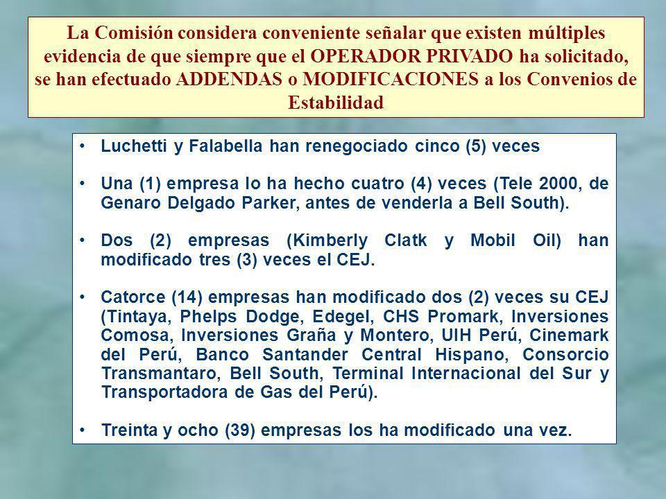 La Comisión considera conveniente señalar que existen múltiples evidencia de que siempre que el OPERADOR PRIVADO ha solicitado, se han efectuado ADDEN