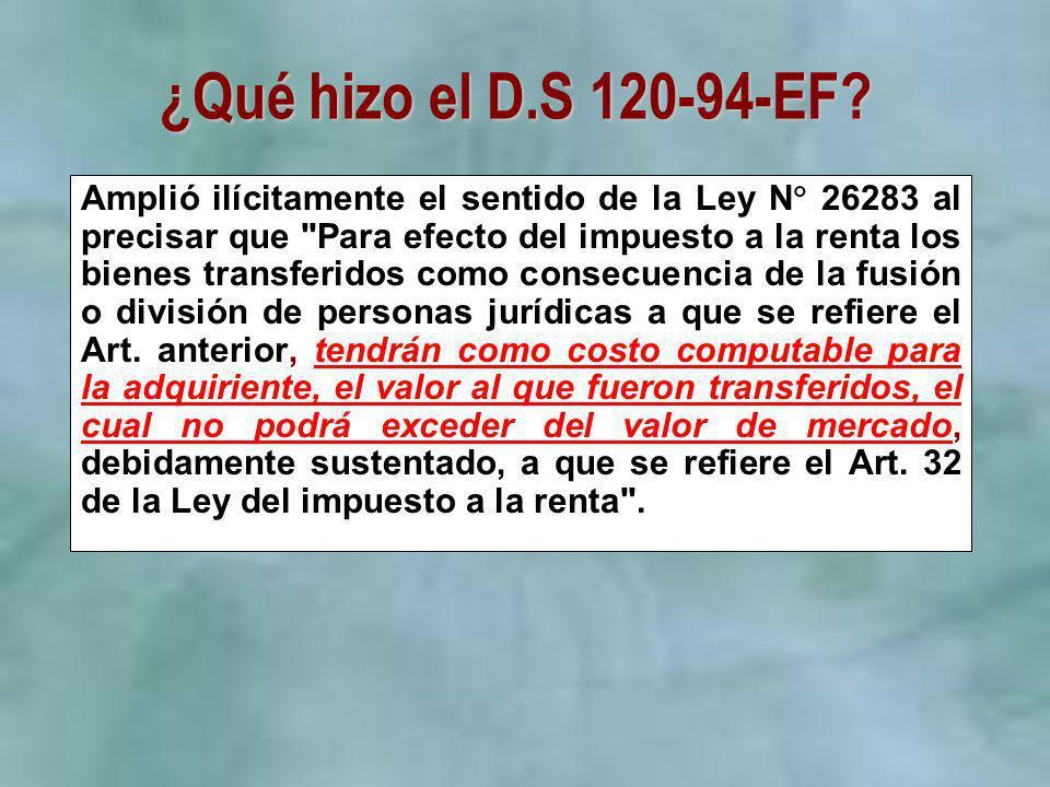 ¿Qué hizo el D.S 120-94-EF? Amplió ilícitamente el sentido de la Ley N 26283 al precisar que