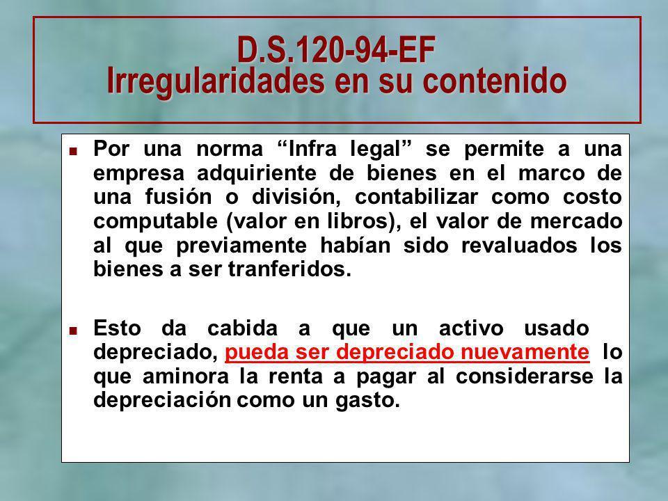 D.S.120-94-EF Irregularidades en su contenido Por una norma Infra legal se permite a una empresa adquiriente de bienes en el marco de una fusión o div