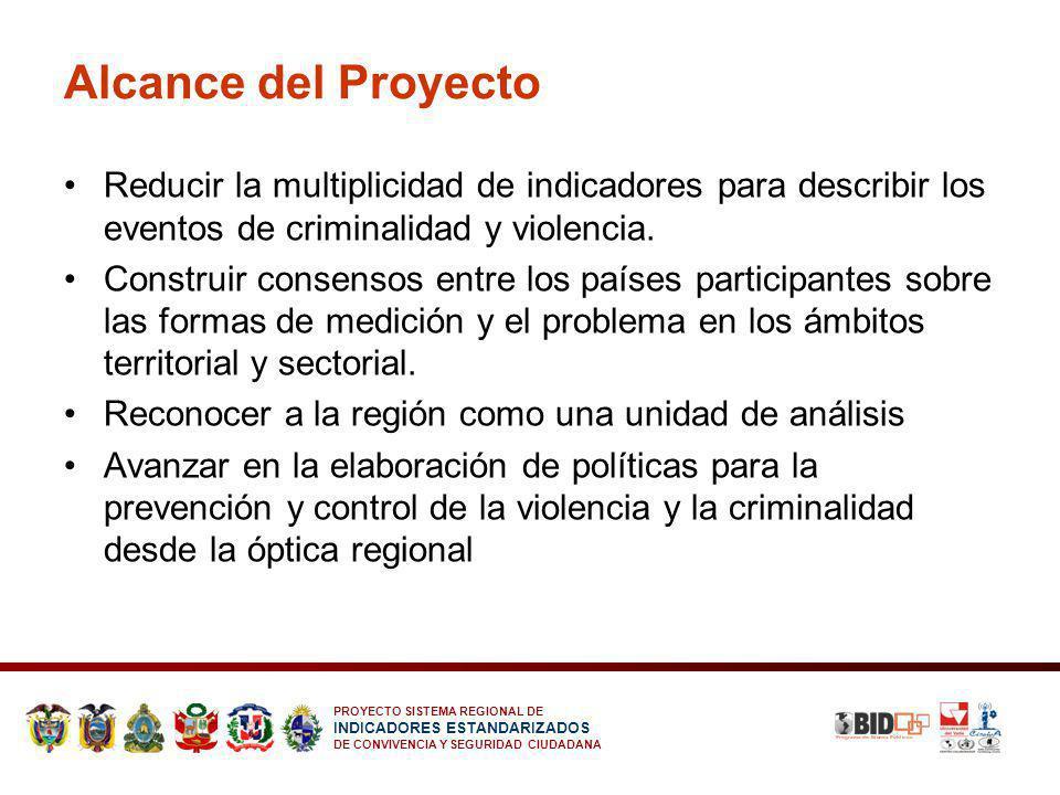 PROYECTO SISTEMA REGIONAL DE INDICADORES ESTANDARIZADOS DE CONVIVENCIA Y SEGURIDAD CIUDADANA Alcance del Proyecto Reducir la multiplicidad de indicado
