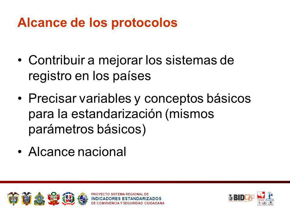 PROYECTO SISTEMA REGIONAL DE INDICADORES ESTANDARIZADOS DE CONVIVENCIA Y SEGURIDAD CIUDADANA Alcance de los protocolos Contribuir a mejorar los sistem