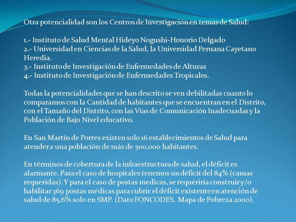 Otra potencialidad son los Centros de Investigación en temas de Salud: 1.- Instituto de Salud Mental Hideyo Nogushi-Honorio Delgado 2.- Universidad en