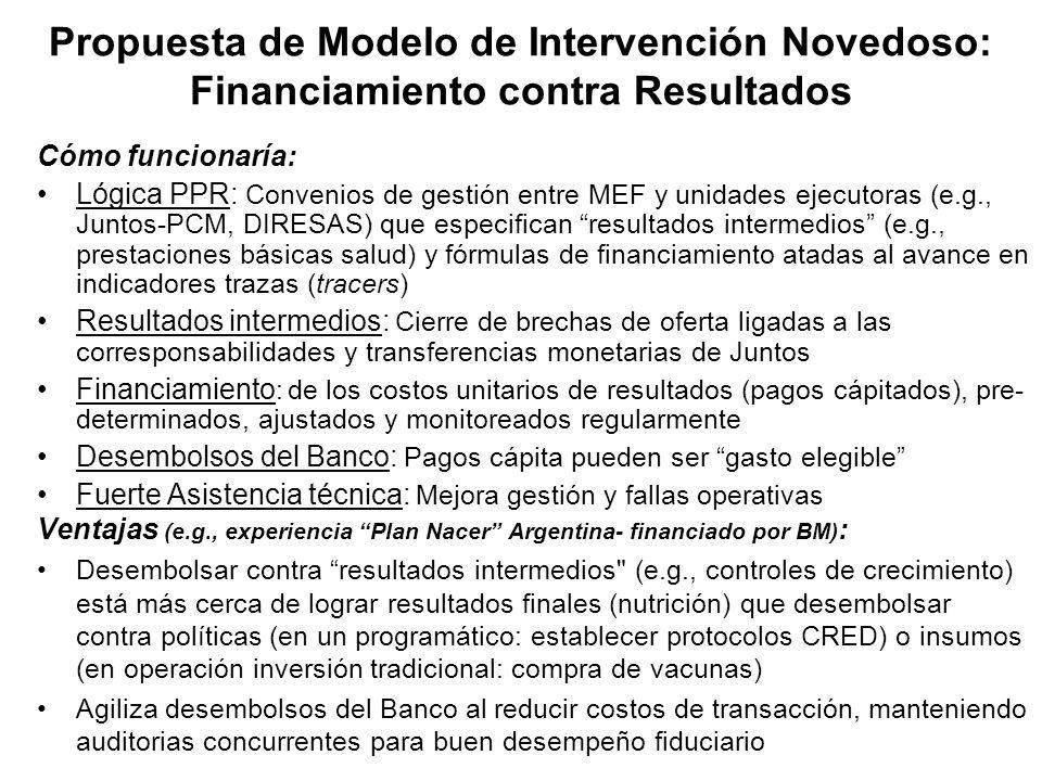 Propuesta de Modelo de Intervención Novedoso: Financiamiento contra Resultados Cómo funcionaría: Lógica PPR: Convenios de gestión entre MEF y unidades