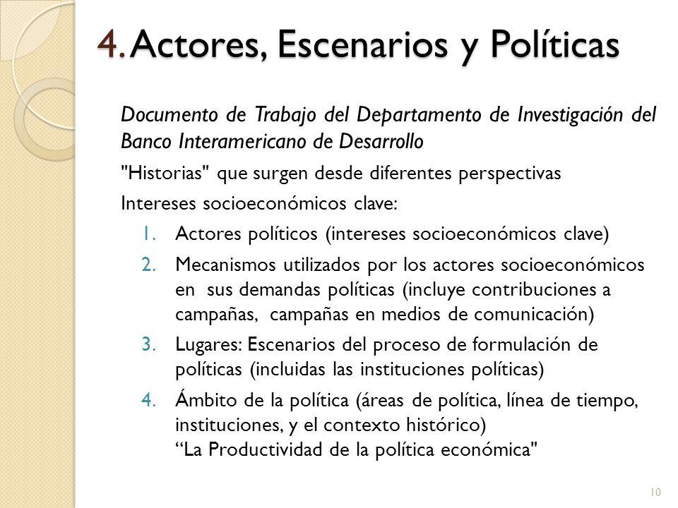 4. Actores, Escenarios y Políticas Documento de Trabajo del Departamento de Investigación del Banco Interamericano de Desarrollo