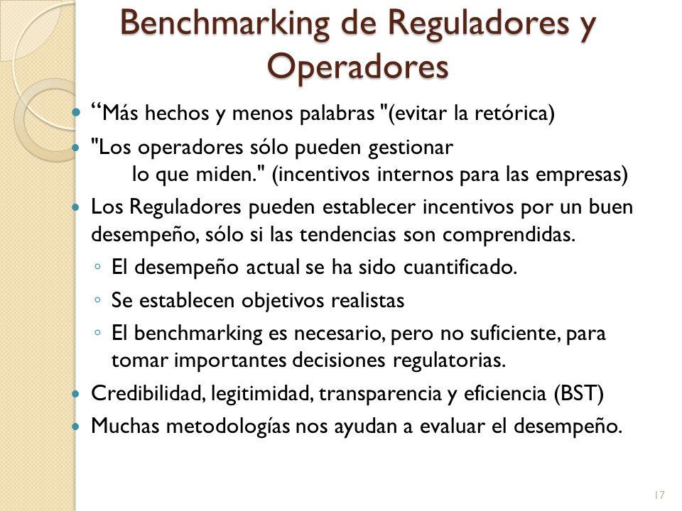 Benchmarking de Reguladores y Operadores Más hechos y menos palabras (evitar la retórica) Los operadores sólo pueden gestionar lo que miden. (incentivos internos para las empresas) Los Reguladores pueden establecer incentivos por un buen desempeño, sólo si las tendencias son comprendidas.