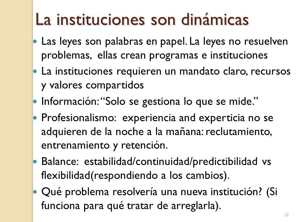 La instituciones son dinámicas Las leyes son palabras en papel.