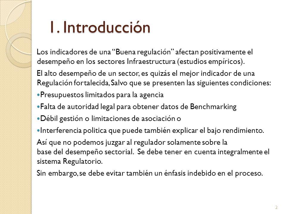 1. Introducción Los indicadores de una Buena regulación afectan positivamente el desempeño en los sectores Infraestructura (estudios empíricos). El al