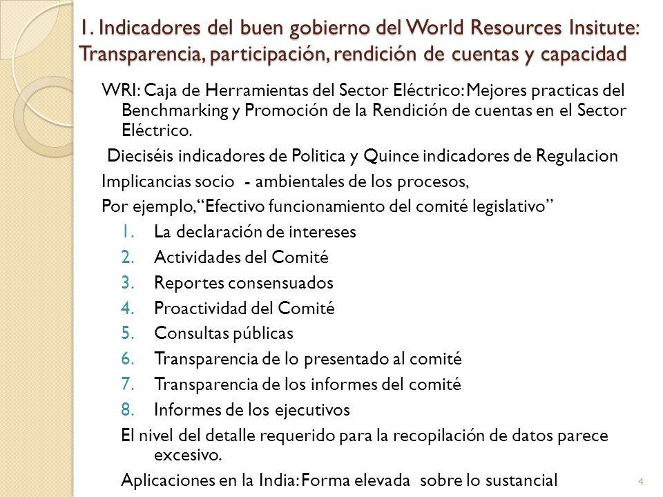 1. Indicadores del buen gobierno del World Resources Insitute: Transparencia, participación, rendición de cuentas y capacidad WRI: Caja de Herramienta