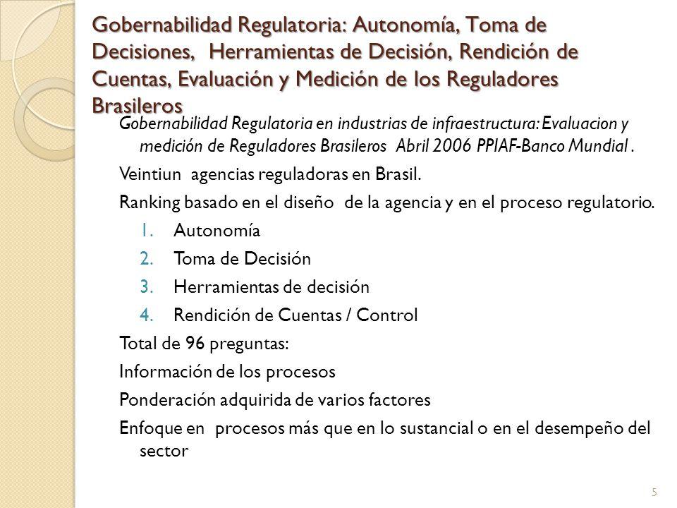 Gobernabilidad Regulatoria: Autonomía, Toma de Decisiones, Herramientas de Decisión, Rendición de Cuentas, Evaluación y Medición de los Reguladores Brasileros Gobernabilidad Regulatoria en industrias de infraestructura: Evaluacion y medición de Reguladores Brasileros Abril 2006 PPIAF-Banco Mundial.