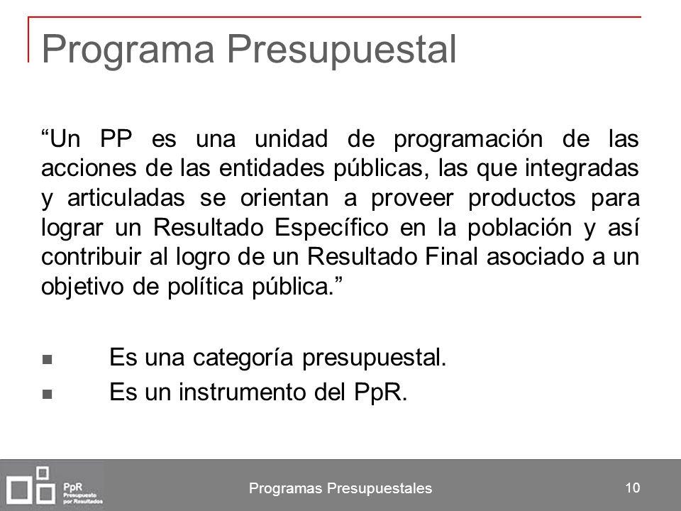 Programas Presupuestales 10 Programa Presupuestal Un PP es una unidad de programación de las acciones de las entidades públicas, las que integradas y