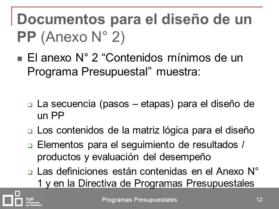 Programas Presupuestales 12 Documentos para el diseño de un PP (Anexo N° 2) El anexo N° 2 Contenidos mínimos de un Programa Presupuestal muestra: La s