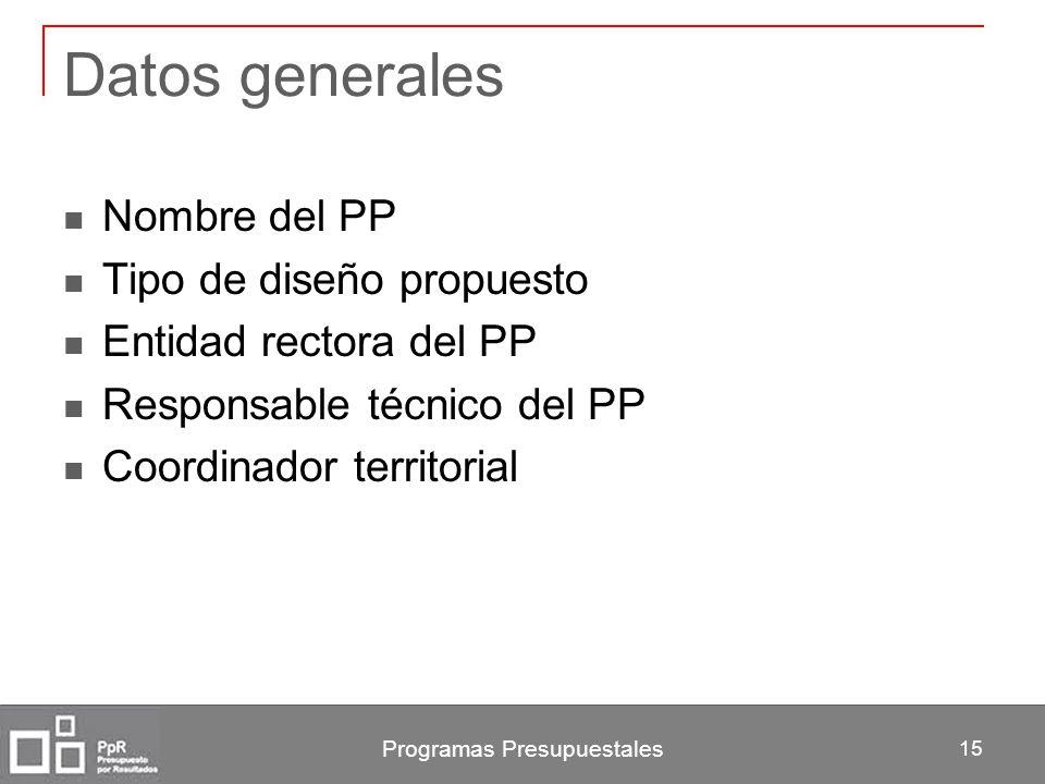Programas Presupuestales 15 Datos generales Nombre del PP Tipo de diseño propuesto Entidad rectora del PP Responsable técnico del PP Coordinador terri