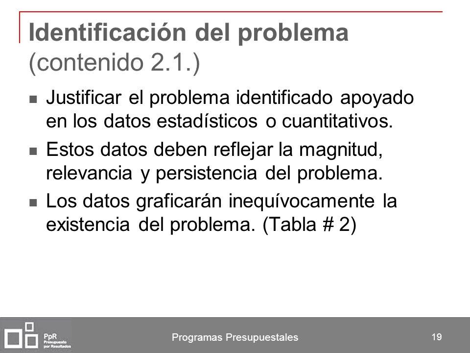 Programas Presupuestales 19 Identificación del problema (contenido 2.1.) Justificar el problema identificado apoyado en los datos estadísticos o cuant