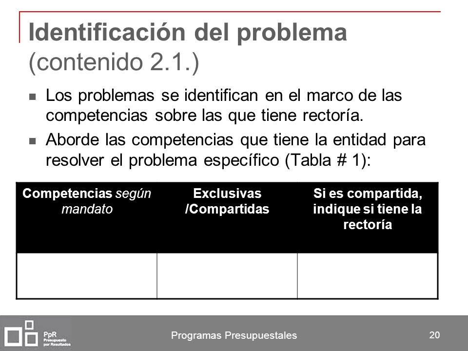 Programas Presupuestales 20 Identificación del problema (contenido 2.1.) Los problemas se identifican en el marco de las competencias sobre las que ti