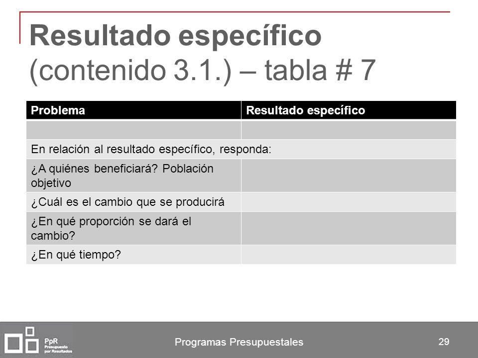 Resultado específico (contenido 3.1.) – tabla # 7 Programas Presupuestales 29 ProblemaResultado específico En relación al resultado específico, respon