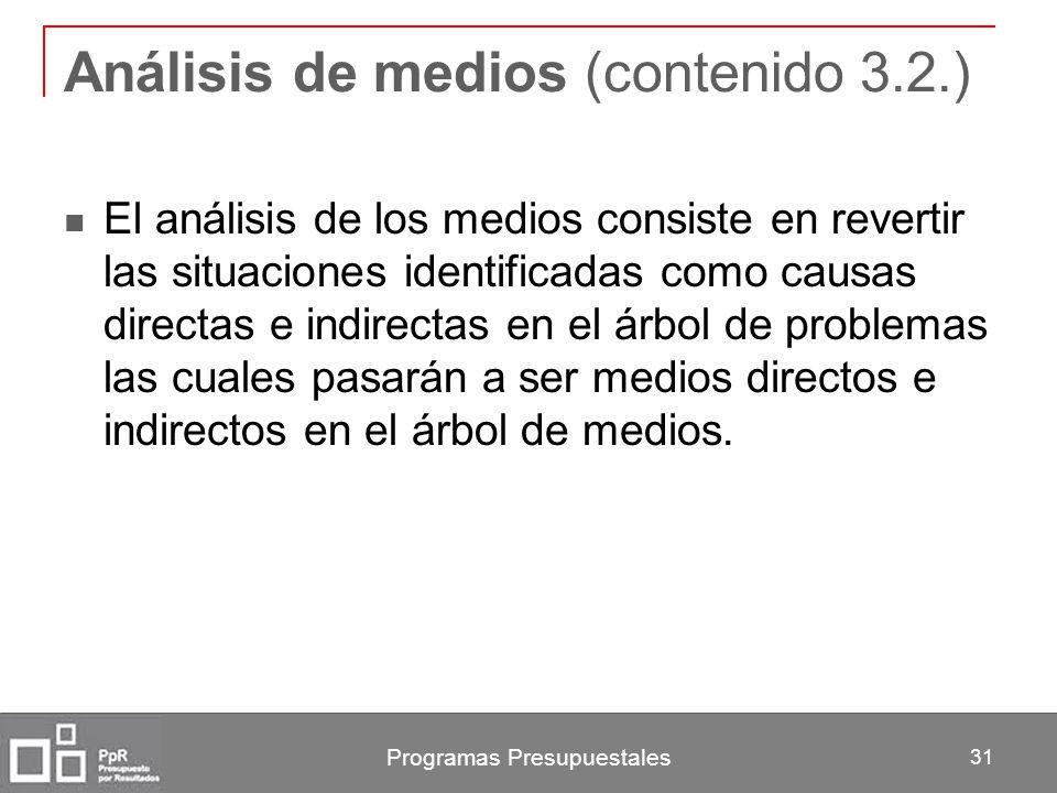 Programas Presupuestales 31 Análisis de medios (contenido 3.2.) El análisis de los medios consiste en revertir las situaciones identificadas como caus
